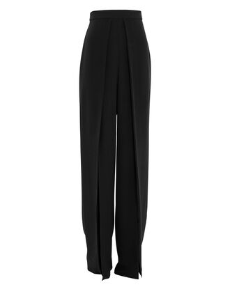Silk Wide Leg Pants, BLACK, hi-res