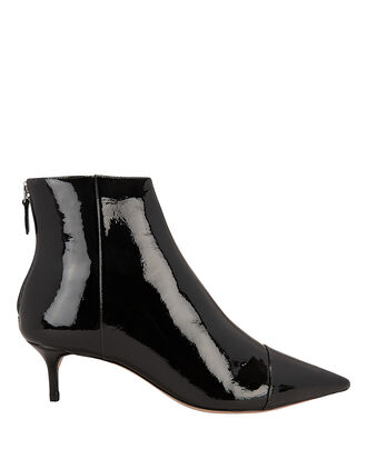 Patent Leather Kitten Booties, BLACK, hi-res