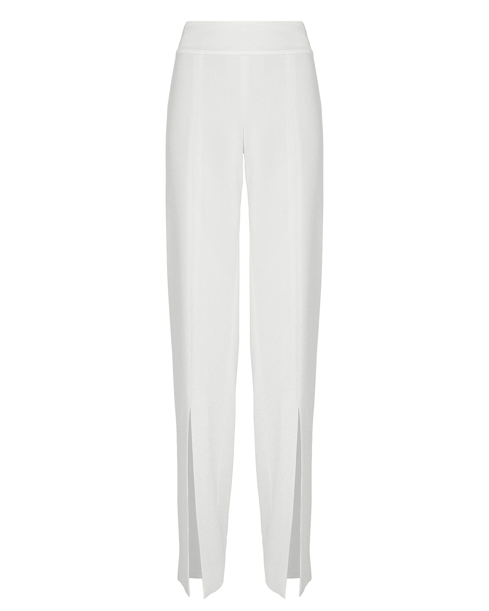 Satin Combo Front Slit Pants, WHITE, hi-res