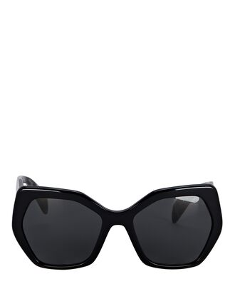 Oversized Angular Sunglasses, BLACK, hi-res