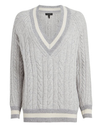 Theon Merino Wool Cable Knit Sweater, GREY, hi-res