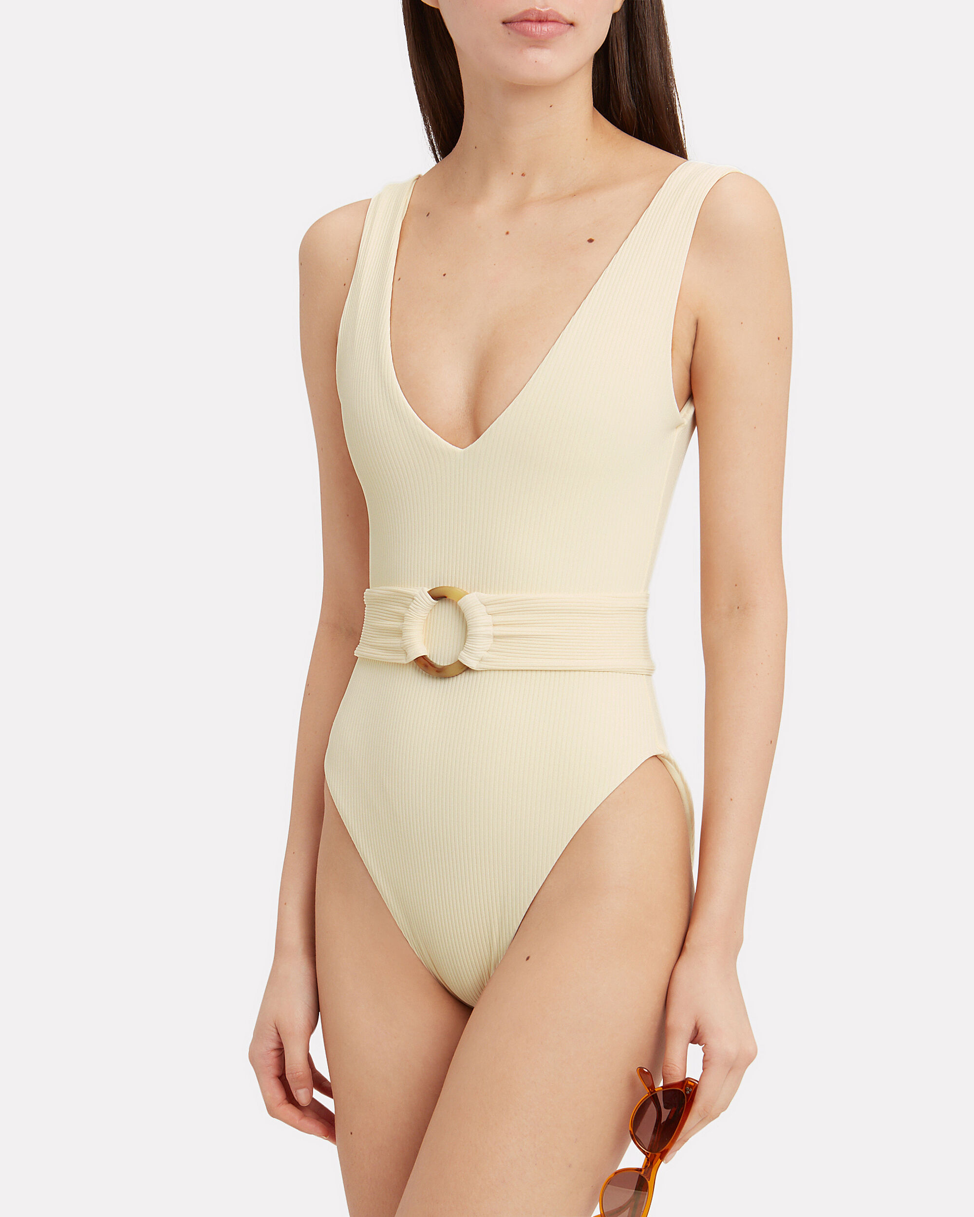 Kim Belted One Piece Swimsuit, SAND IVORY, hi-res