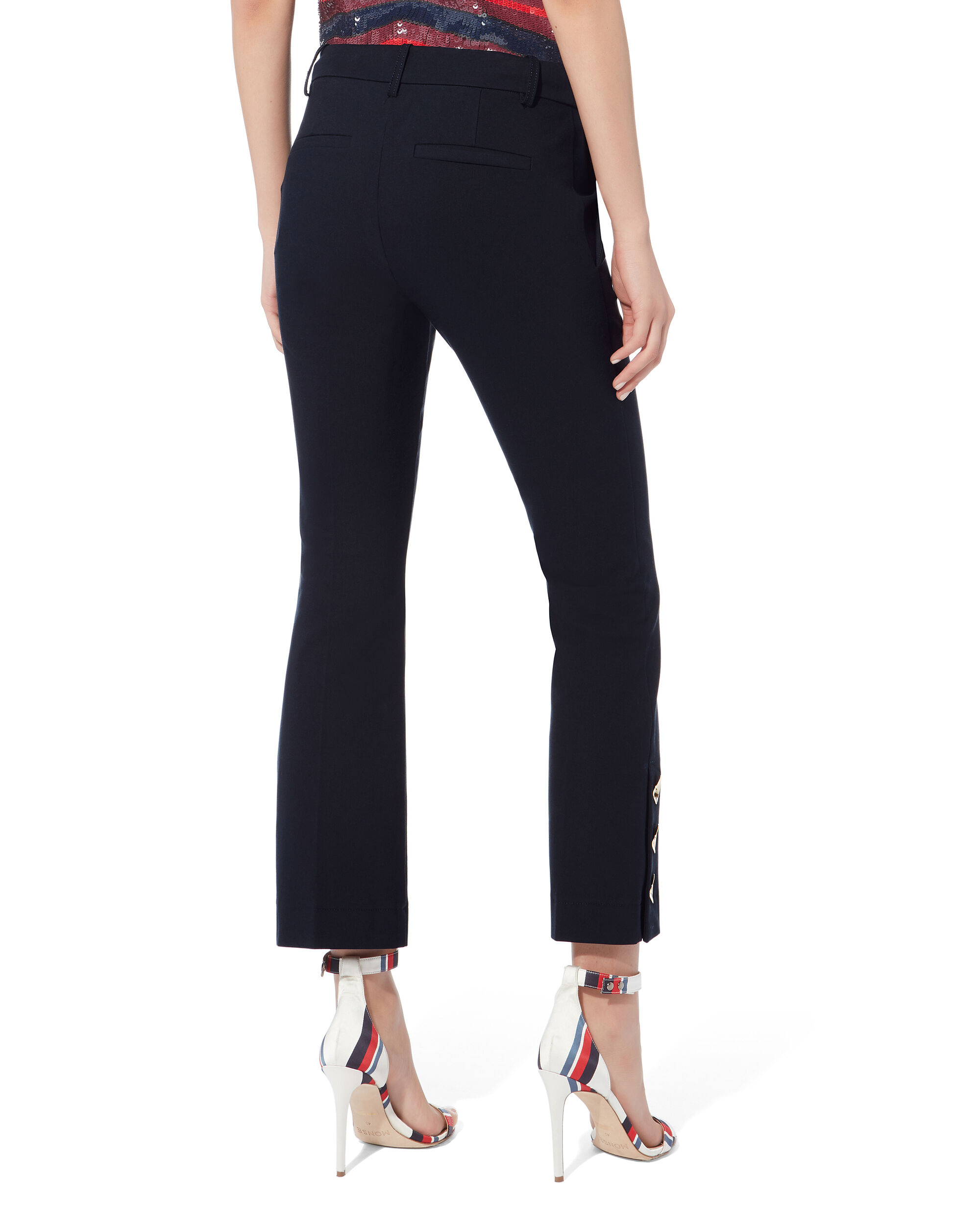 Slit Hem Crop Flare Trousers, NAVY, hi-res