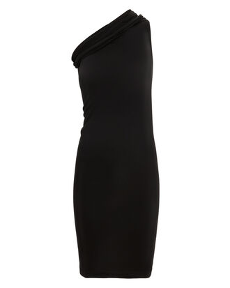 One Shoulder Black Dress, BLACK, hi-res