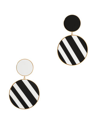 Monochrome Statement Earrings, BLK/WHT, hi-res