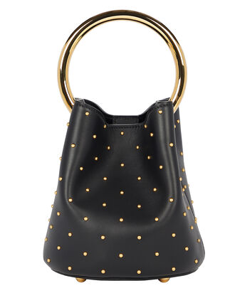 Studded Pannier Top Handle Bag, BLACK, hi-res