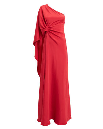 One Shoulder Red Gown, RED, hi-res