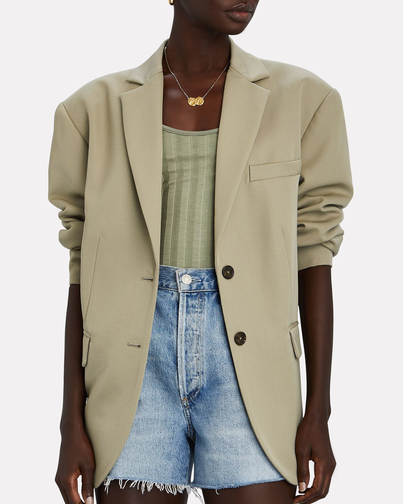 Quinn Oversized Wool Blazer, OLIVE/ARMY, hi-res