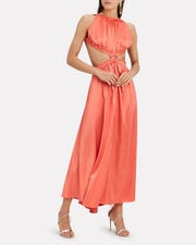 Theia Satin Gown, CORAL, hi-res