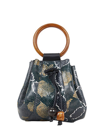 Palma Mini Bucket Bag, NAVY/PYTHON, hi-res