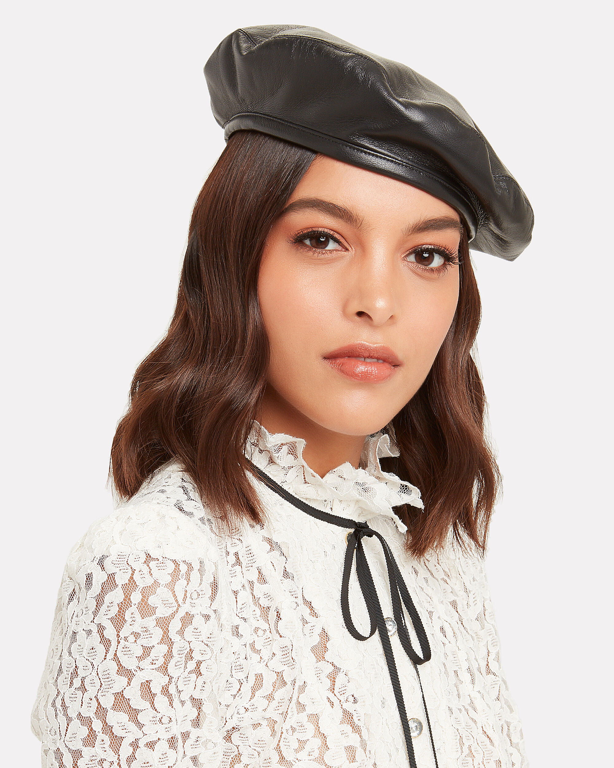 Cher Leather Beret, BLACK, hi-res