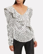 Crepe Dotted Ruffle Blouse, MULTI, hi-res