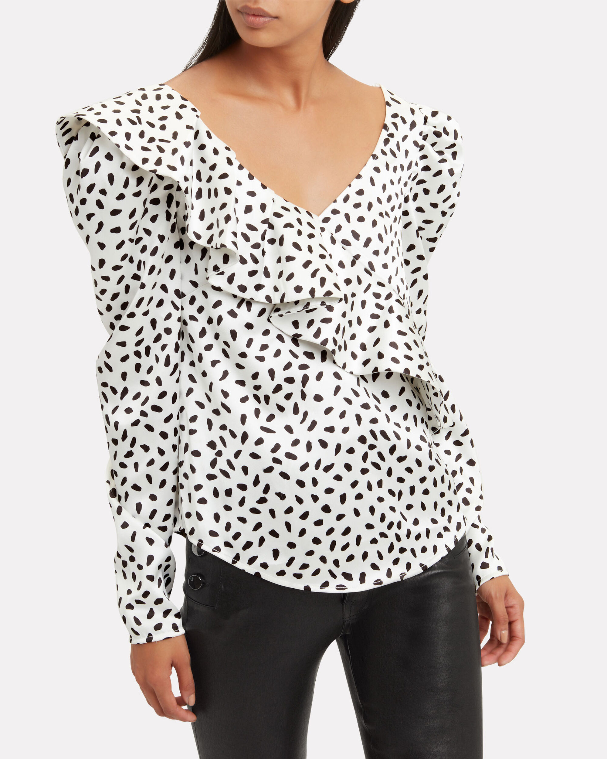 Dotted Ruffle Blouse, WHITE/BLACK, hi-res