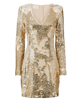 Gold Sequin Mini Dress, METALLIC, hi-res