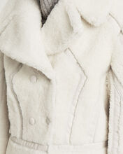 Leather-Trimmed Shearling Peacoat, WHITE, hi-res