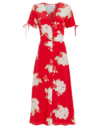Lanorya Silk Dress, RED, hi-res