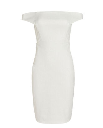 Off-The-Shoulder Midi Dress, WHITE, hi-res