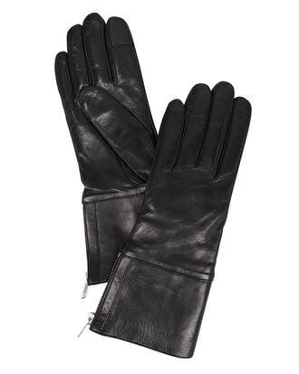 Side Zip Black Gloves, BLACK, hi-res
