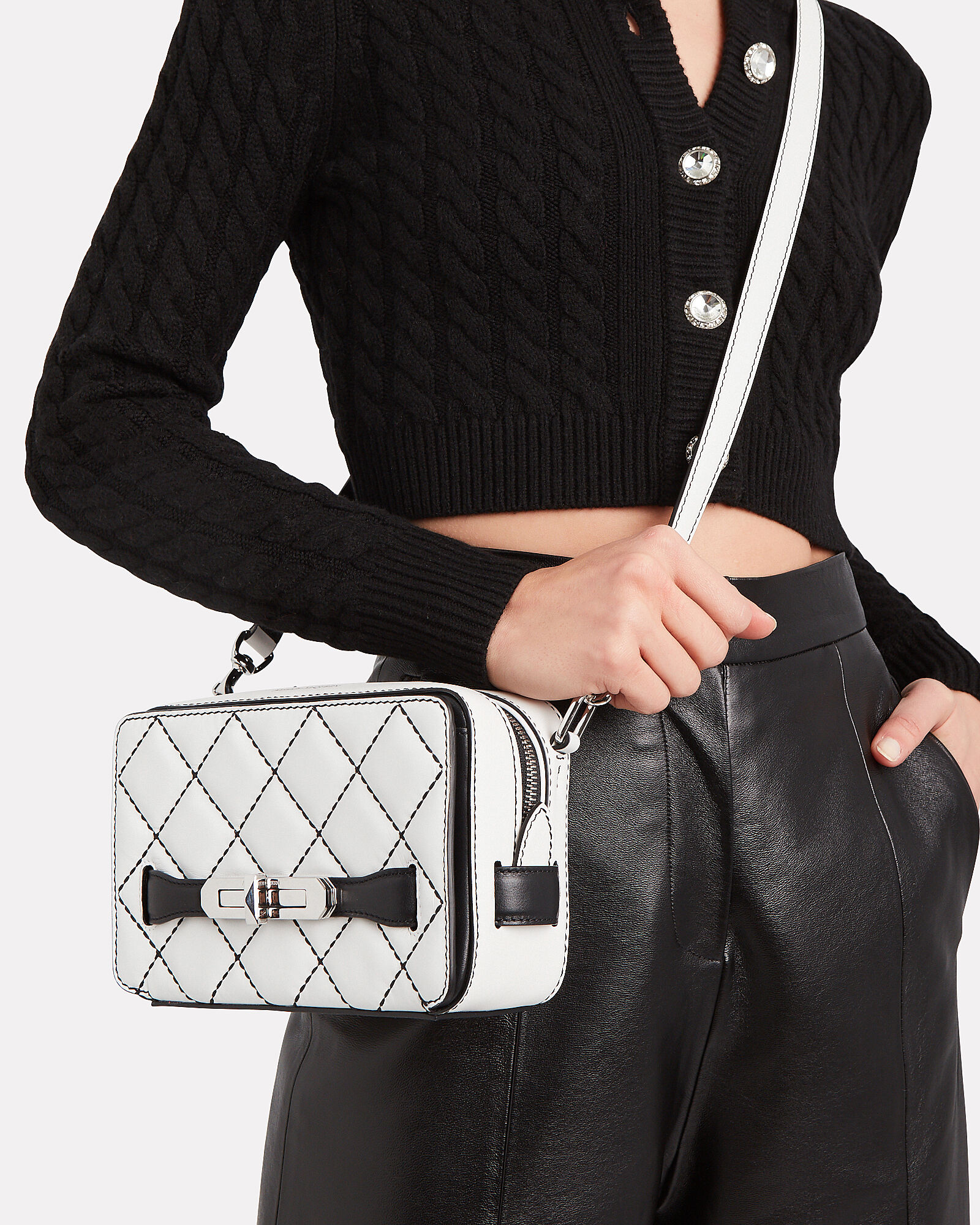 The Myth Quilted Crossbody Bag, WHITE/BLACK, hi-res