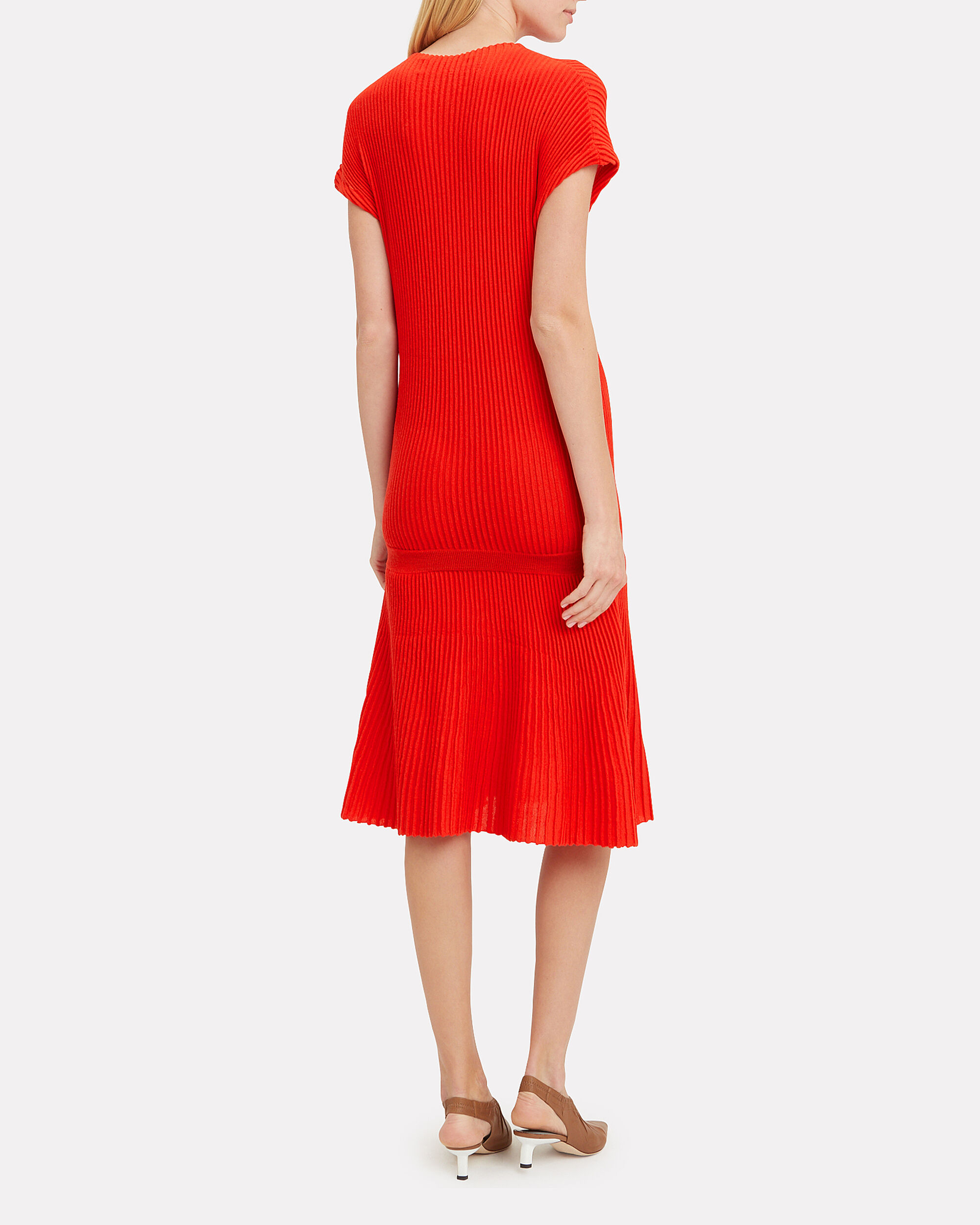 Red Ribbed Dress, RED, hi-res