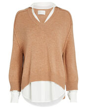 Looker Layered V-Neck Sweater, BROWN, hi-res
