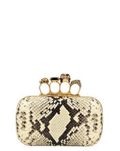 Python Embossed Four Ring Clutch, GREY PYTHON-PRINT, hi-res