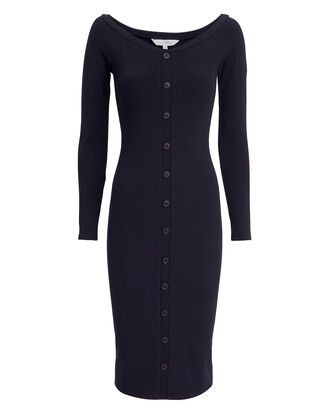 Helene Button Front Dress, NAVY, hi-res