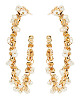 Creole Orphee Pearl Beaded Hoop Earrings, GOLD, hi-res