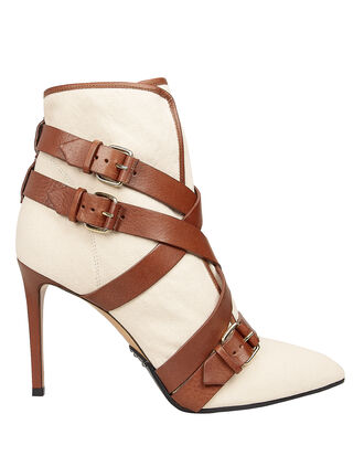 Jackie Canvas Buckled Strap Booties, IVORY/BROWN, hi-res