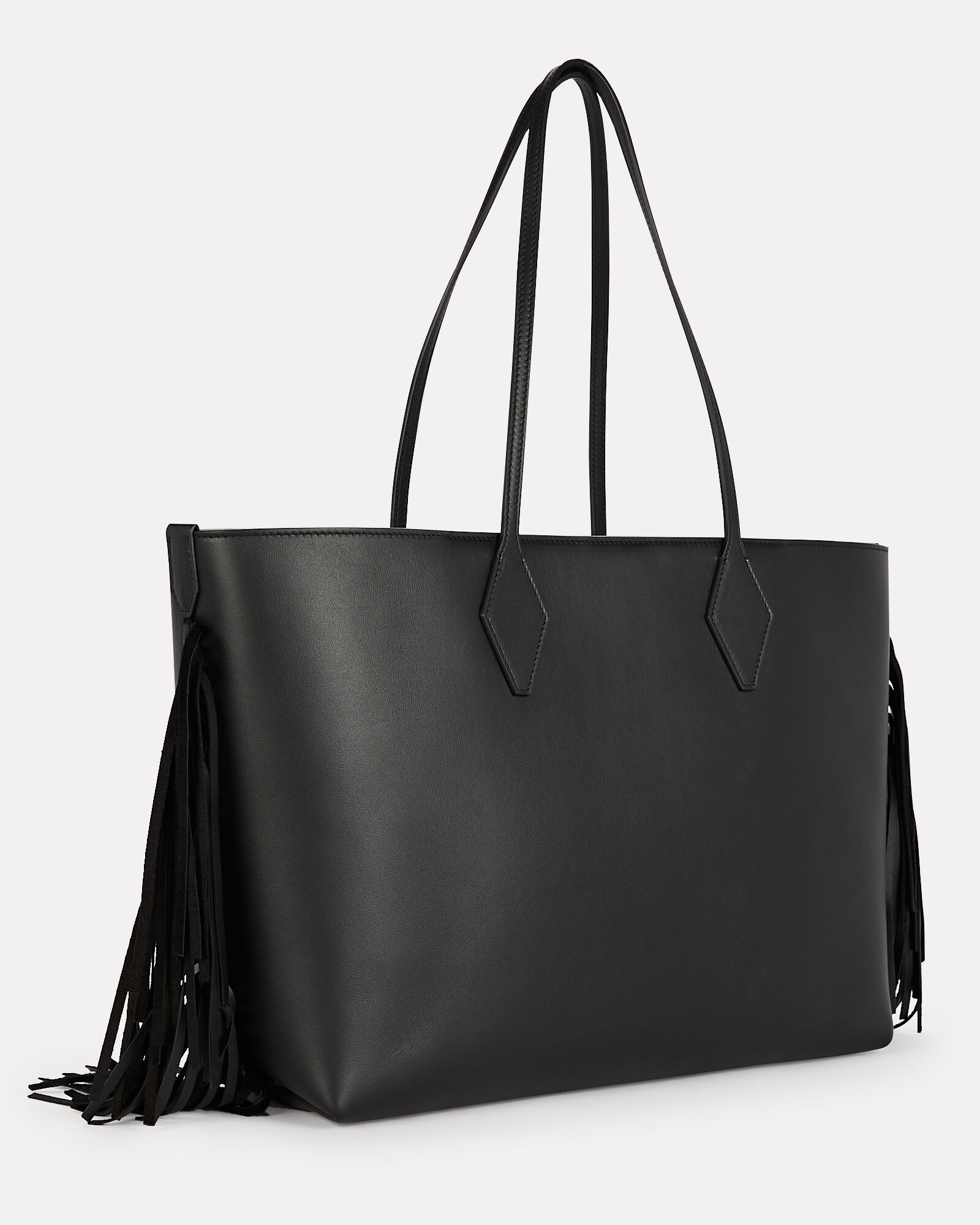 Classic 37 Fringed Leather Tote, BLACK, hi-res