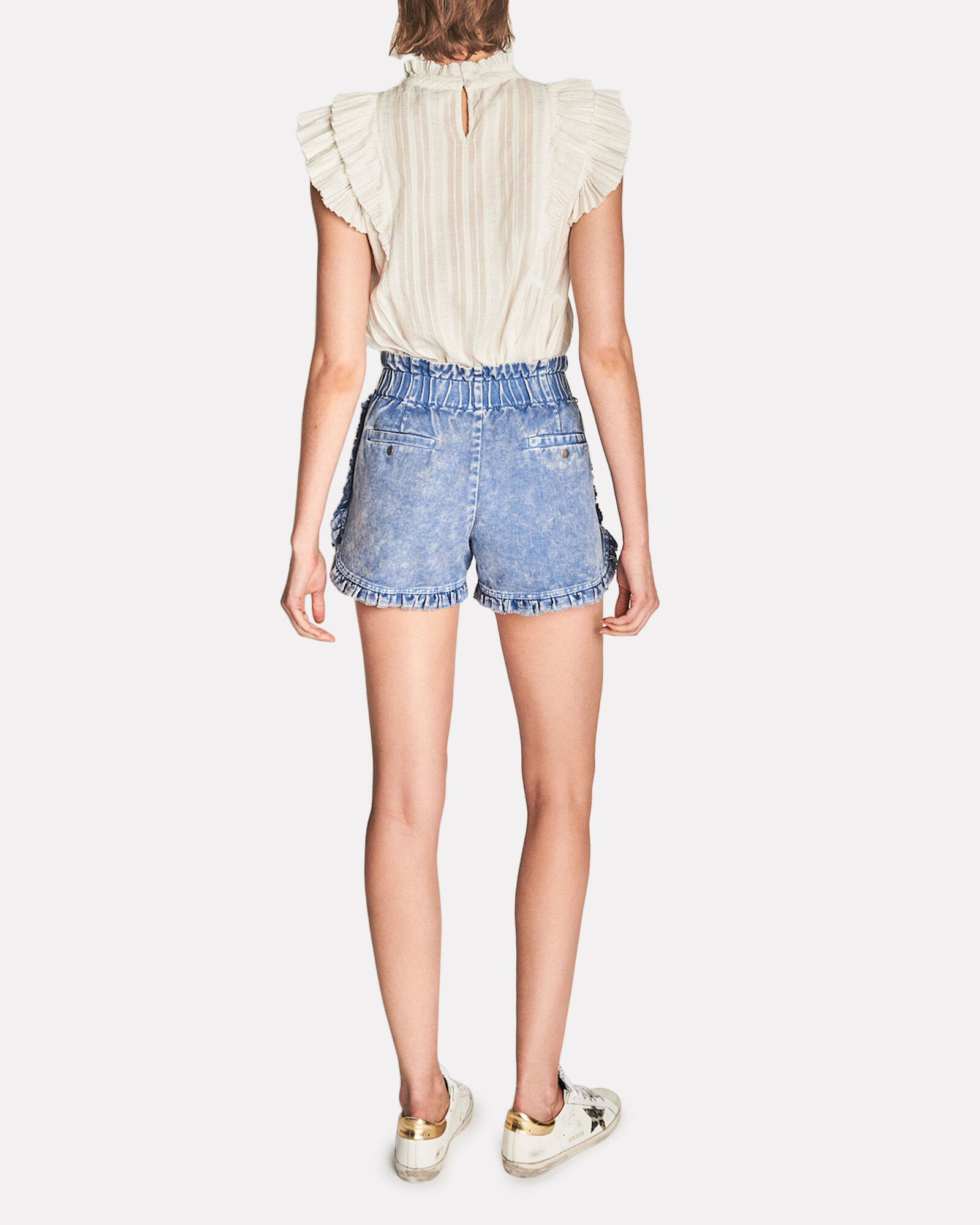 Idun Ruffled Denim Shorts, BLUE-MED, hi-res