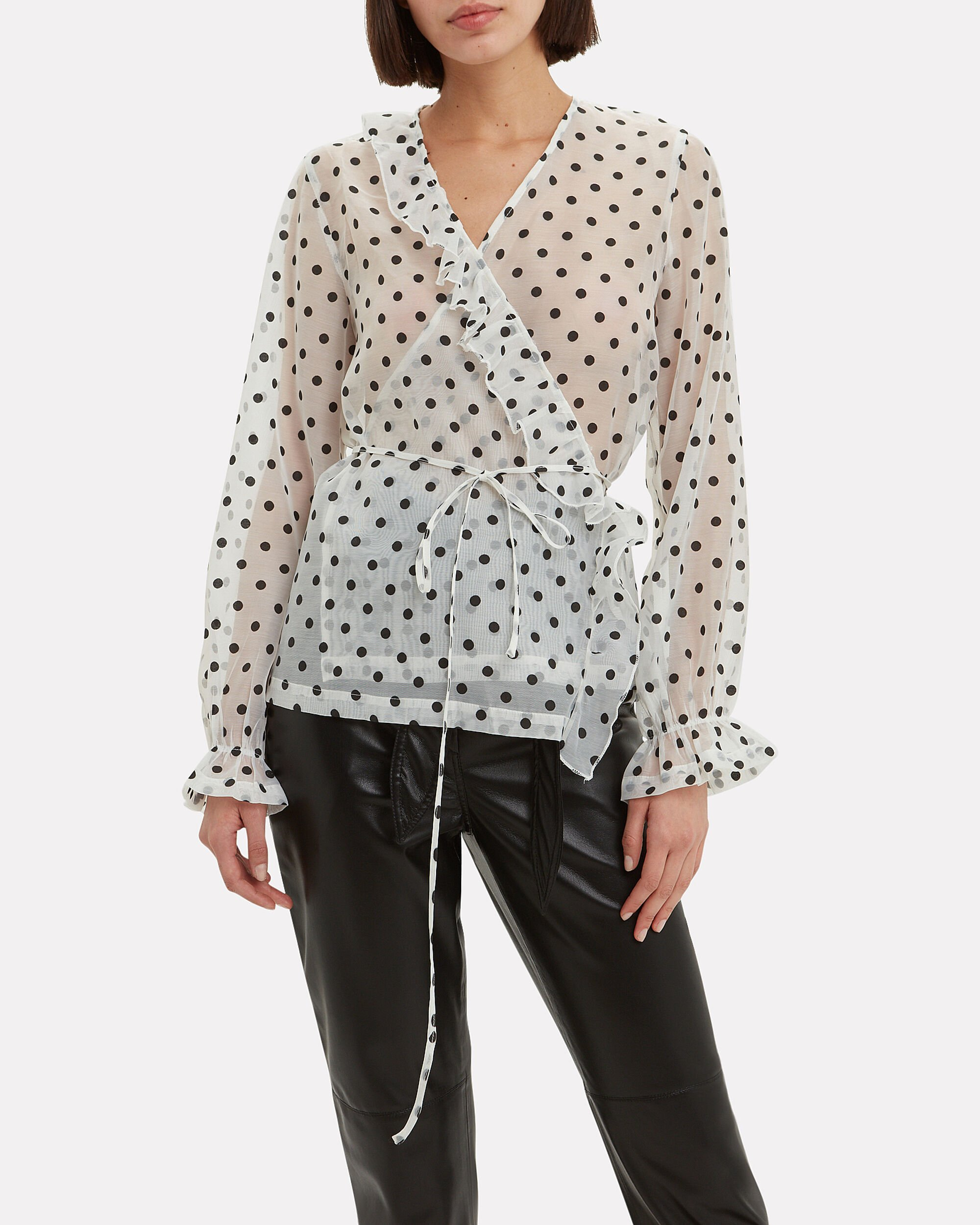 Mindy Polka Dot Top, BLACK/WHITE, hi-res