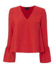 Katie Bell Sleeve Blouse, RED, hi-res