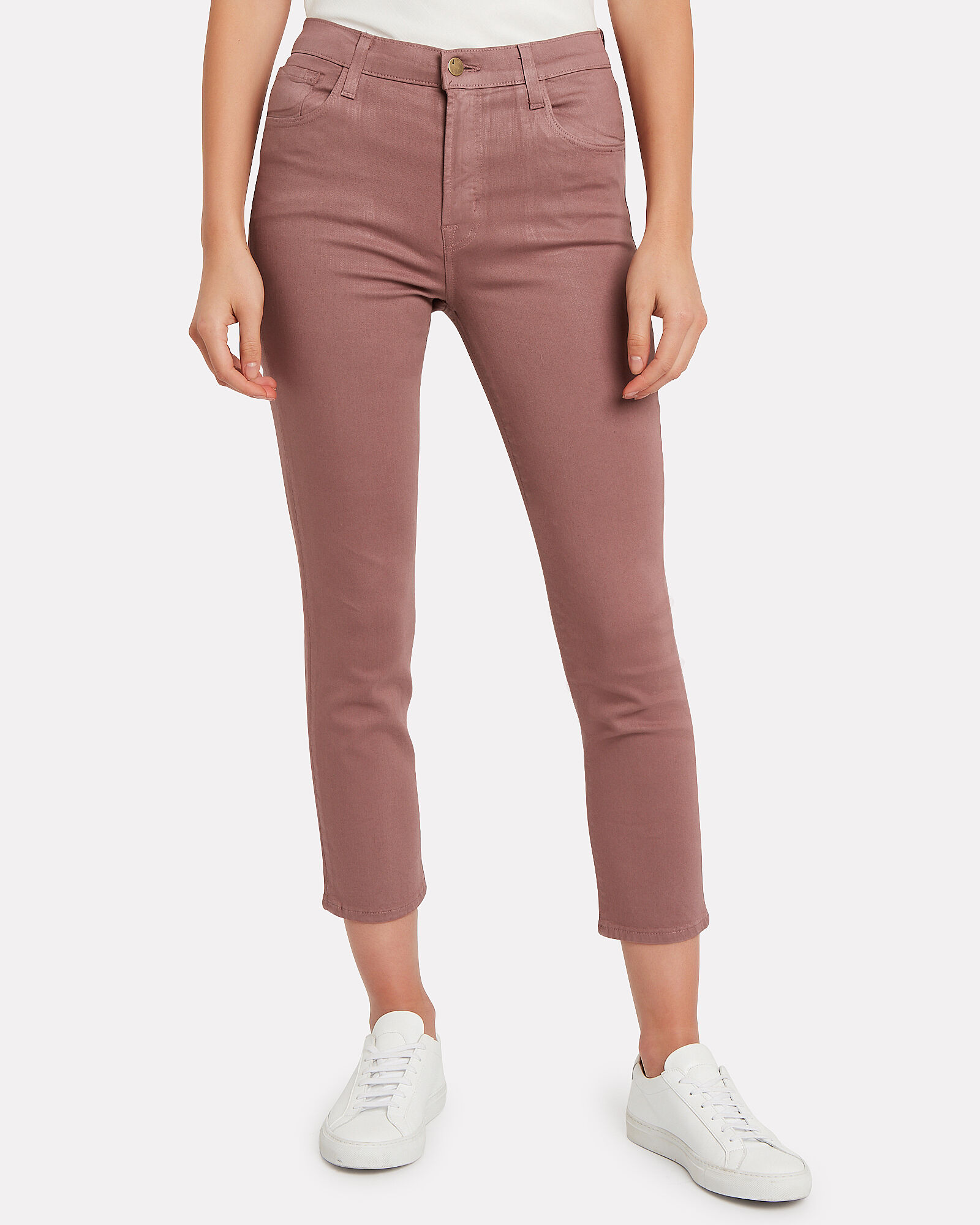 Ruby Coated Cigarette Cropped Jeans, MAUVE, hi-res