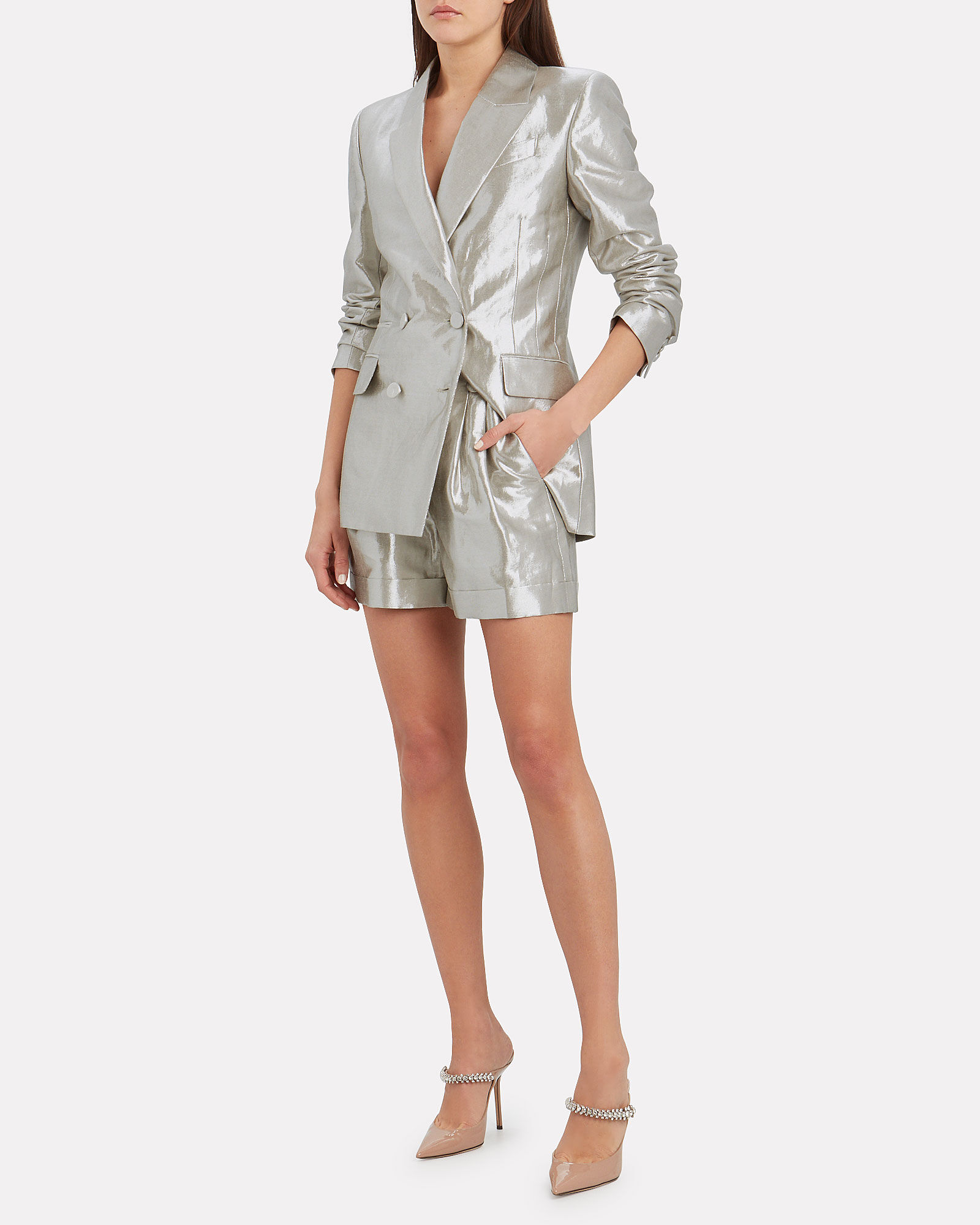Archie Double-Breasted Linen Blazer, SILVER, hi-res