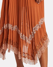 Lace-Trimmed Pleated Midi Skirt, BROWN, hi-res