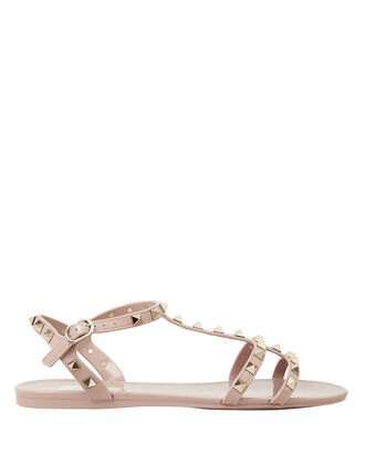 Rockstud Gladiator Flat Jelly Sandals, BEIGE, hi-res