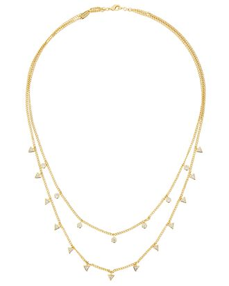 Marguerite Layered Crystal Necklace, GOLD, hi-res