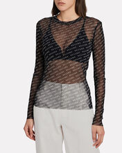 Poxy Mesh Logo Printed Top, BLACK, hi-res