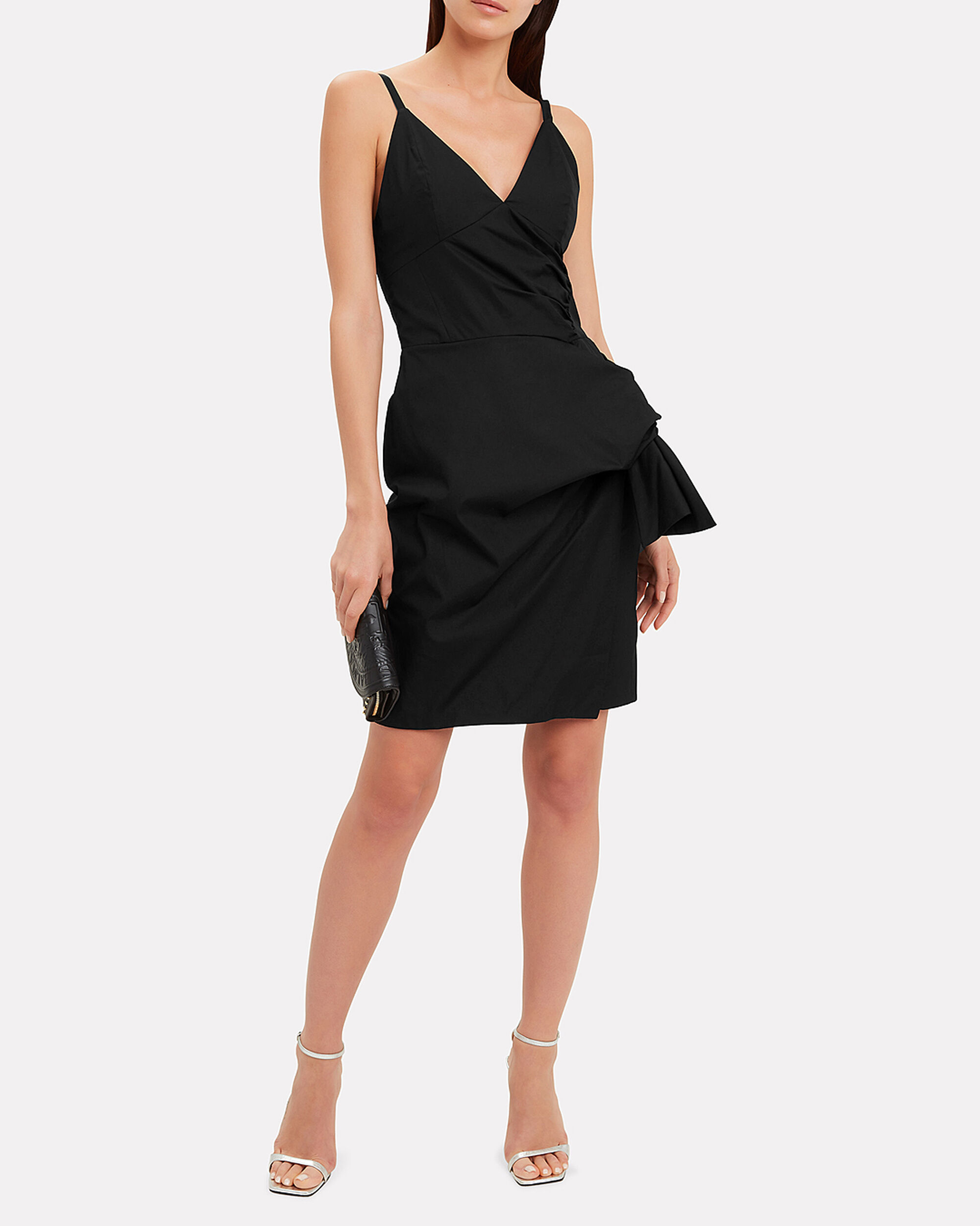 Front Tie Mini Dress, BLACK, hi-res