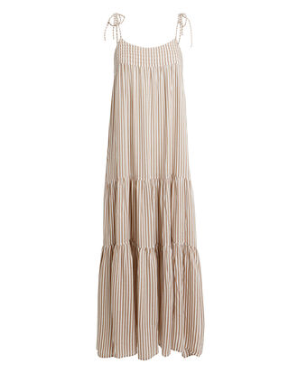 Vacation Maxi Dress, ALMOND/WHITE, hi-res