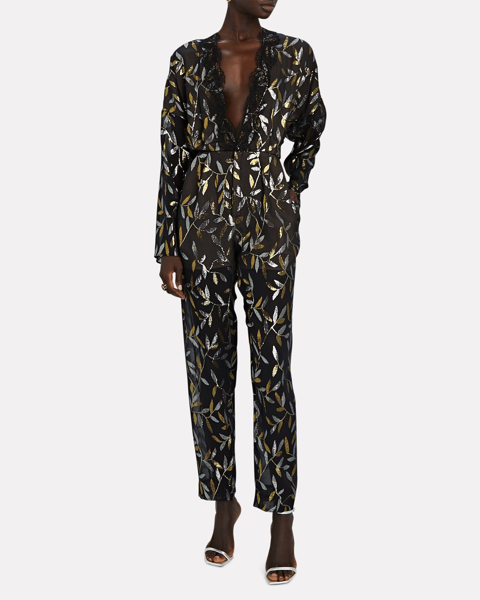 Lace-Trimmed Jacquard Jumpsuit, BLACK, hi-res