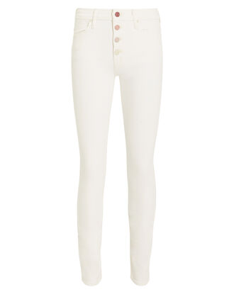 Pixie Rainbow Button Jeans, WHITE, hi-res