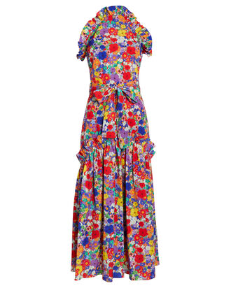 Dora Crepe Floral Dress, RED/BLUE FLORAL, hi-res