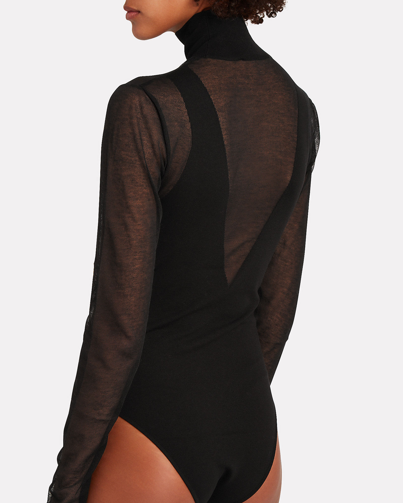 Mesh Turtleneck Long Sleeve Bodysuit, BLACK, hi-res