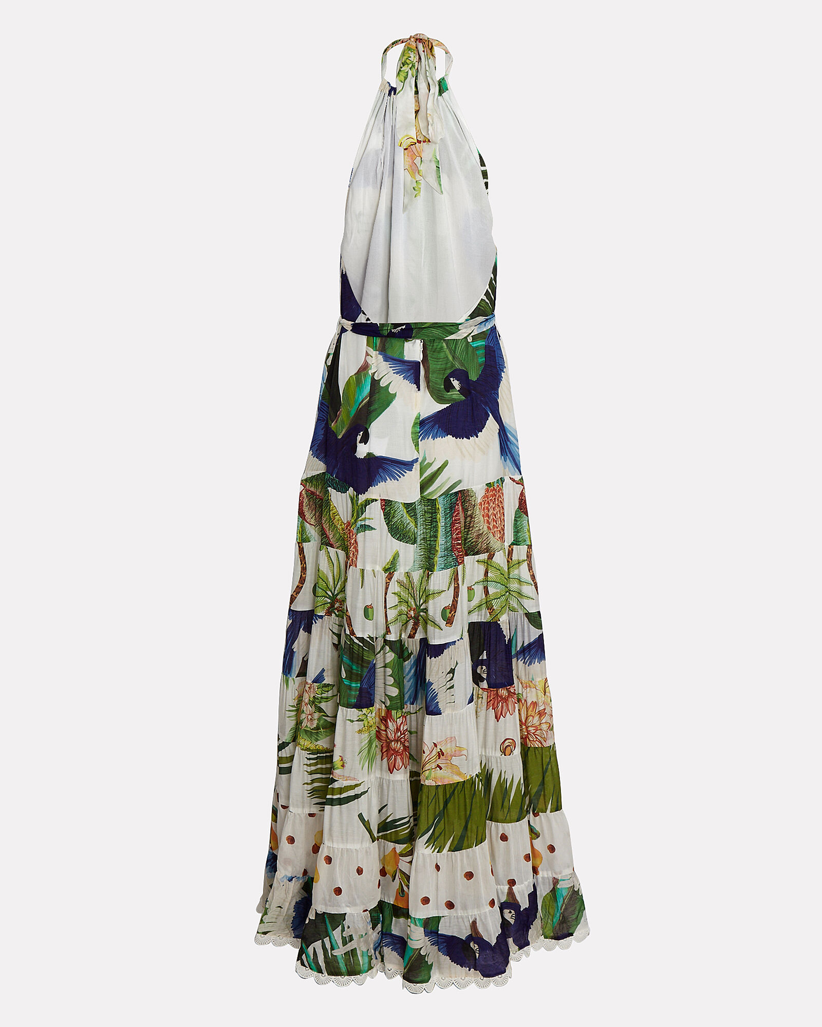 Mixed Palm Halter Maxi Dress, IVORY/PARROT PRINT, hi-res