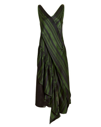 Green Striped Asymmetrical Dress, GREEN/BLACK, hi-res