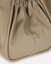 Ruched XL Leather Tote, BEIGE, hi-res
