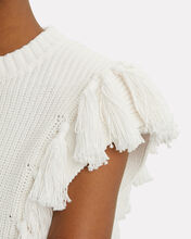 Cropped Tassel Sweater, WHITE, hi-res