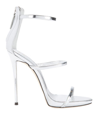 Coline Silver Strappy Sandals, METALLIC, hi-res